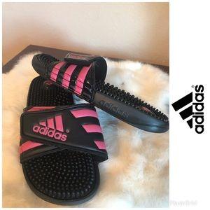 adidas Womens Adissage Slide Sandals pink & black